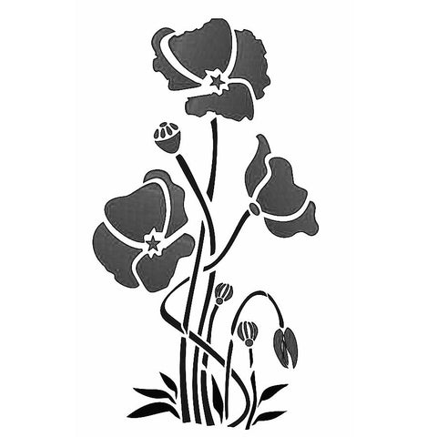 Poppy Flowers Stencil - Trio of poppies - Mylar stencil by Glitzcraft