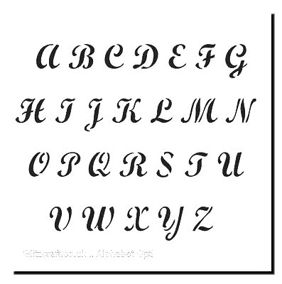 Alphabet Upper Case Letters Stencil  Stencil for cards and crafts  Text includes the Alphabet in uppercase letters in a decorative style a-z . You can make your own words  and sentiments from these letters.