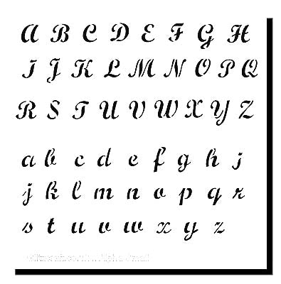 Alphabet  Stencil   Text includes the Alphabet in uppercase letters  and  lower case letters in a decorative style