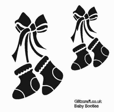 Stencil of babys' booties tied with ribbon