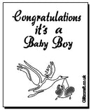 "Stencil of a Stalk Carrying baby - text reads ""Congratulations it's a Baby Boy"""