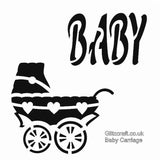 Stencil of Baby's Pram/Carriage with workds BABY for card making