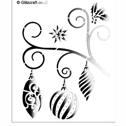 Christmas Bauble Swirl Stencil for Cards and Crafts