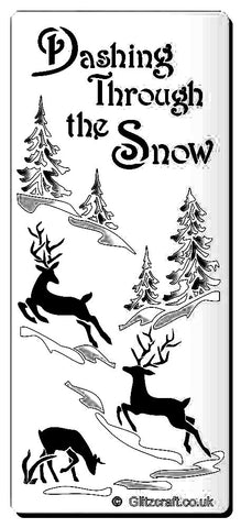 Stencil for Card making - text reads 'Dashing Through the Snow' with images of 3 reindeer, trees and snow.