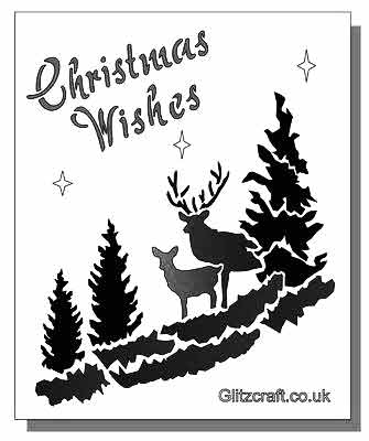 Christmas Wishes Stencil with deer among trees and the text Christmas Wishes