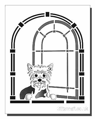 Cute Dog in Window Stencil