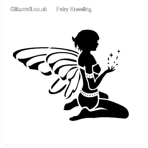 Stencil of Fairy kneeling with fairy dust and wings