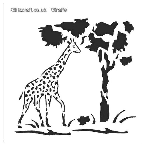 Stencil of Giraffe eating from tree