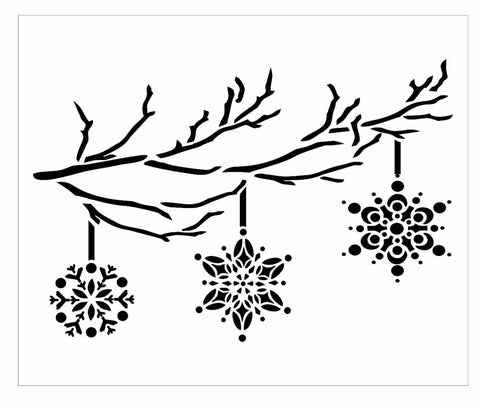 Hanging Snowflakes -3 hanging from a branch - mylar stencil template