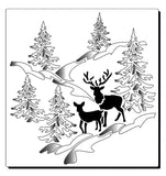 Mother deer and her fawn in a snowy forest mountain scene with trees