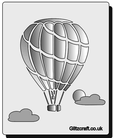 Up in the Air Hot Air Balloon Stencil  Hot air balloon floating among clouds on a stencil for card making