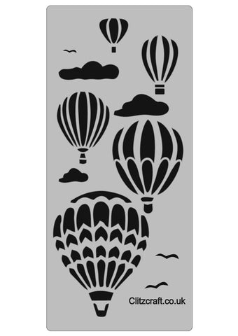 Five Hot air balloons and clouds on a stencil for card making