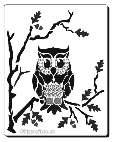 Lone owl stencil for cards and crafts