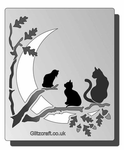 This Feline themed stencil features three cats sitting on tree branch with a moon in the background.