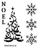 Christmas Stencil with letter NOEL and Christmas Tree and Snowflakes