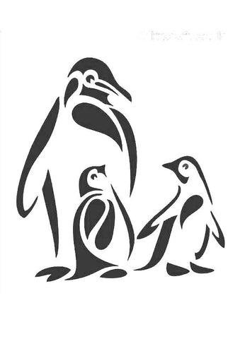 Penguin family stencil - Three penguins one large adult and two smaller younger penguins.