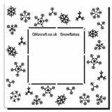 Stencil of snowflakes create a frame for a central image - mylar stencil