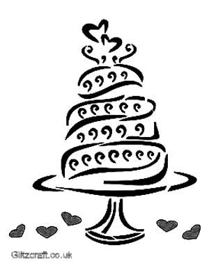 Stencil of a wedding cake for card making - swirly cake and love hearts