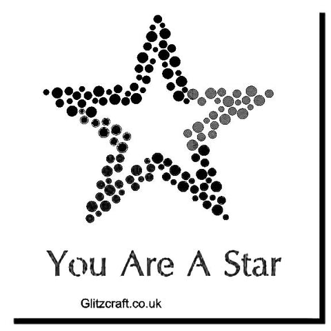 "You Are A Star Stencil  Stencil for cards and crafts  Image of a star and text reads ""You Are A Star"""
