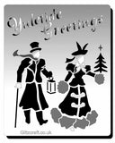 Yuletide Greetings stencil - Text reads 'Yuletide Greetings' with image of a victorian lady and gentleman holding a lantern wearing victorian clothing.