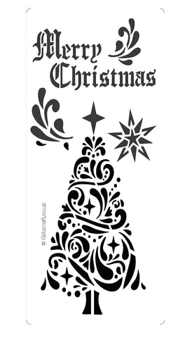 "Christmas tree stencil for cards and crafts  Christmas tree with a star on top and the text ""Merry Christmas""."