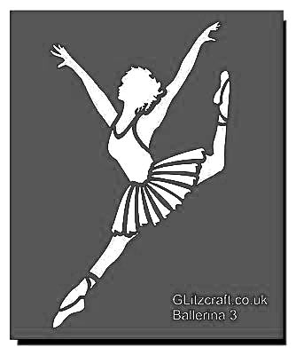 Ballerina leaping with leg up high behind. Stencil for crafts and card making.