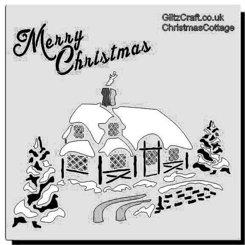 Merry Christmas cottage stencil for Christmas cards and crafts