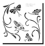 Stencil of four dragonflies and leaves for crafts and card making