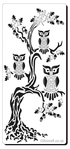 Trio of owls stencil for cards and crafts