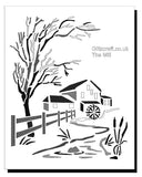 Stencil of a water mill next to a house, with a tree and stream by Glitzcraft