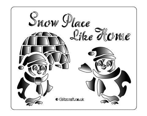 Penguins outside and igloo for cards and crafts.  Two penguins outside and igloo with the text 'Snow Place Like Home'.