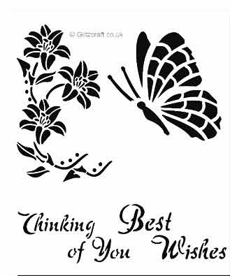 Butterfly sentiments stencil to be used with Wobblie