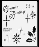 Season Greetings Stencil with Snowflakes and Holly