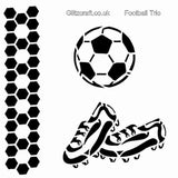 Football Trio Stencil - pattern of ball, football and boots