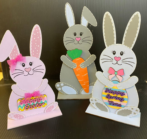 3 MDF Cute Easter Bunnies comes ready to decorate and each comes with its own base to allow it to stand. Ready decorate for your craft project