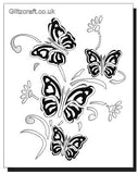 3D Stencil of four butterflies for crafts and card making