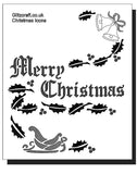 "Merry Christmas Stencil for cards and crafts  The sentiment on this stencil reads: ""Merry Christmas"""