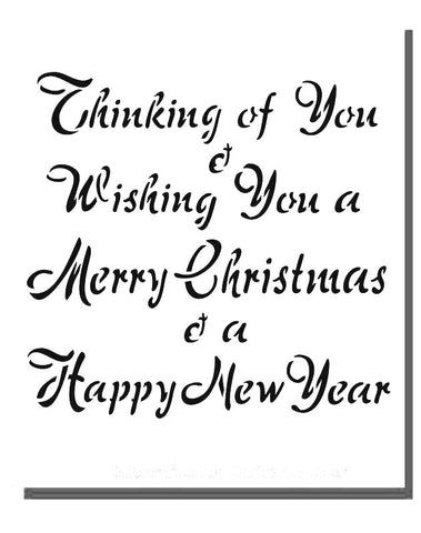 Stencil of card insert text reads  'Thinking of You & Wishing You a Merry Christmas & a Happy New Year'
