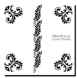 Corner flourish stencil stencil for decoration with a  plant inspired theme for card making and crafts