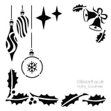 Holly Baubles and bells Chrismas Stencil