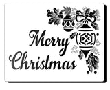 Stencil ready Merry Christmas and has images of holly and baubles - Mylar Stencil