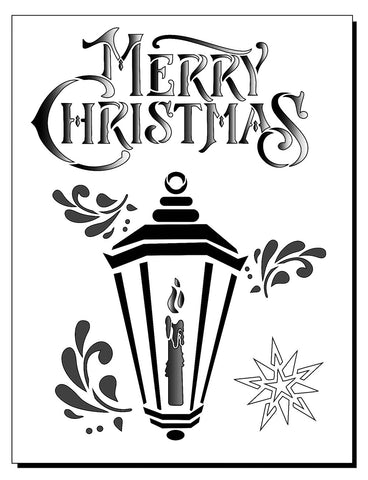 Christmas stencil reads Merry Christmas with image of a candle in a lantern