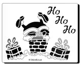 Christmas Stencil for Christmas cards and crafts  Text reads 'Ho Ho Ho' with an images of Santa's feet sticking out of a chimney.
