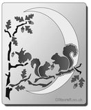 Squirrel moon stencil for card making and crafts