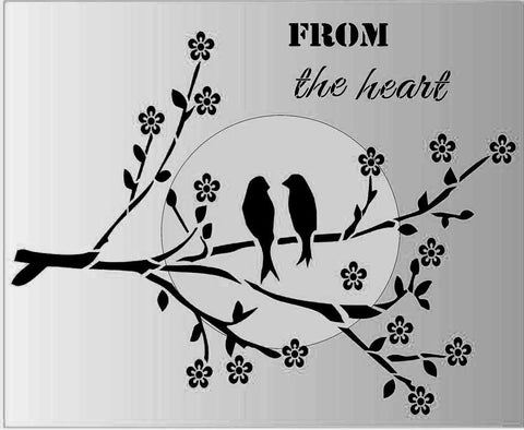 From the Heart Love Birds in a tree Stencil