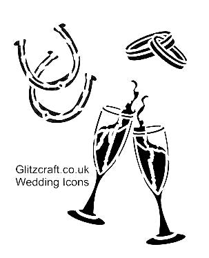 Stencil for wedding invitation with wedding rings, glasses and horse shoes