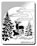 Moon Deer stencil - deer in the forest with trees and moon - Mylar stencil