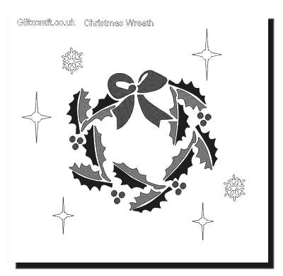 Holly wreath stencil  for Christmas cards and crafts