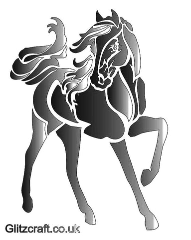 Stencil of a horse for cards and crafts - horse with swishing tail and one leg as if in motion