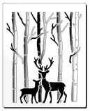 stencil of deer in forest mother and baby deer - Mylar stencil for cards and crafts
